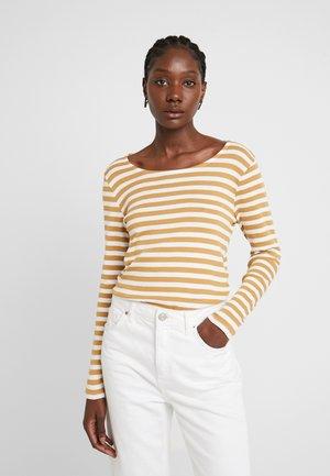 BASIC STRIPED - Camiseta de manga larga - offwhite/camel brown