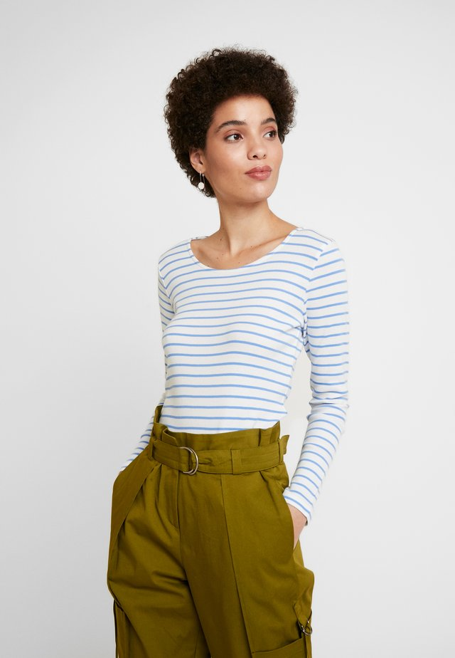 BASIC STRIPED - Long sleeved top - offwhite/mid blue