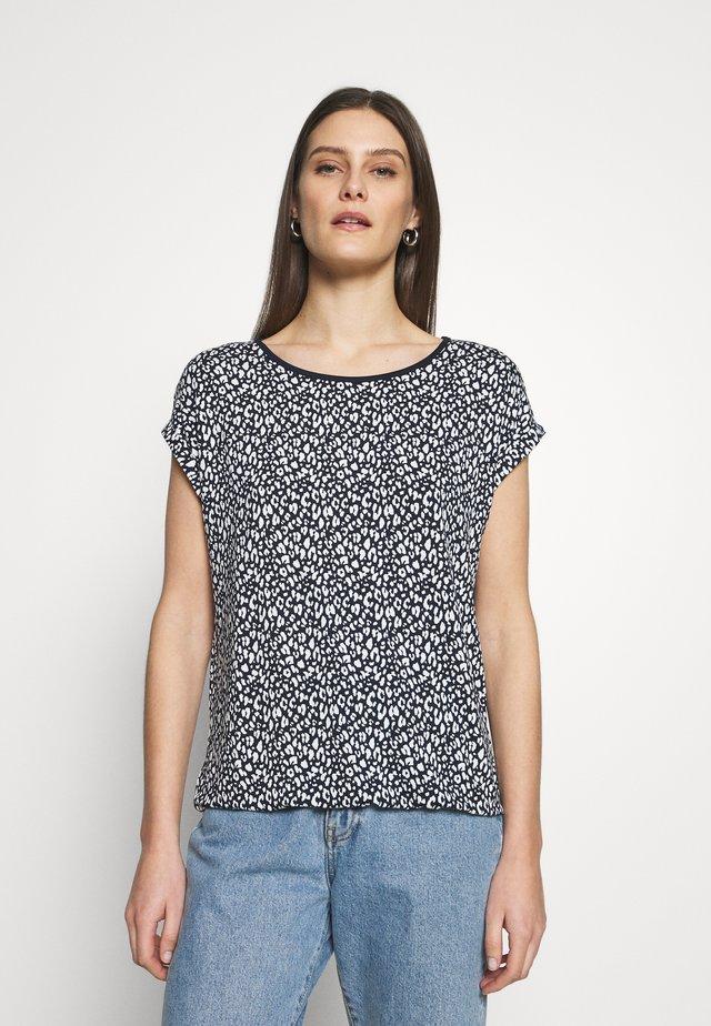 T-SHIRT STRIPED CREW-NECK - T-shirt z nadrukiem - navy
