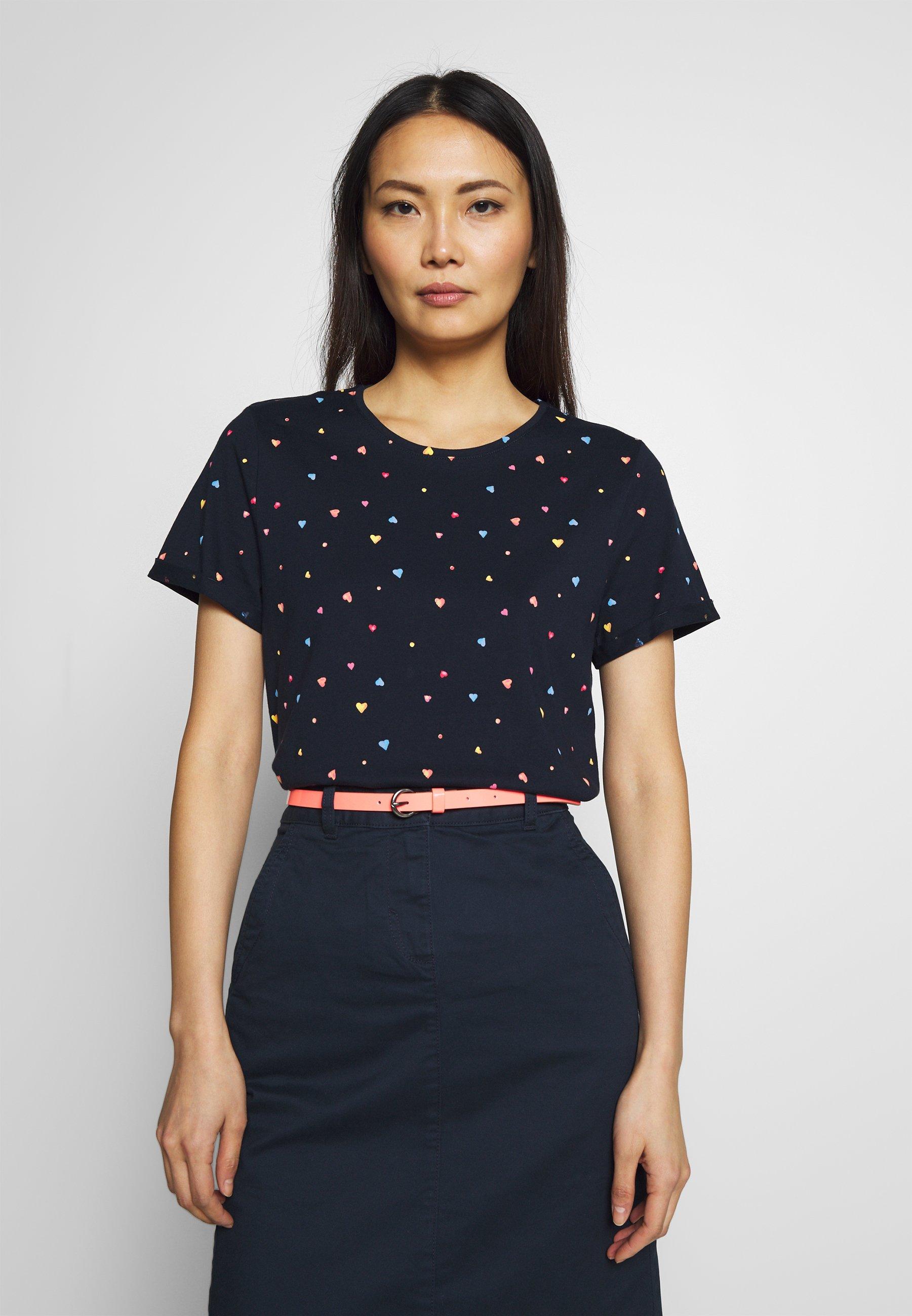 TOM TAILOR SUMMER FRONT PRINT - T-shirt z nadrukiem - navy heart dot design blue