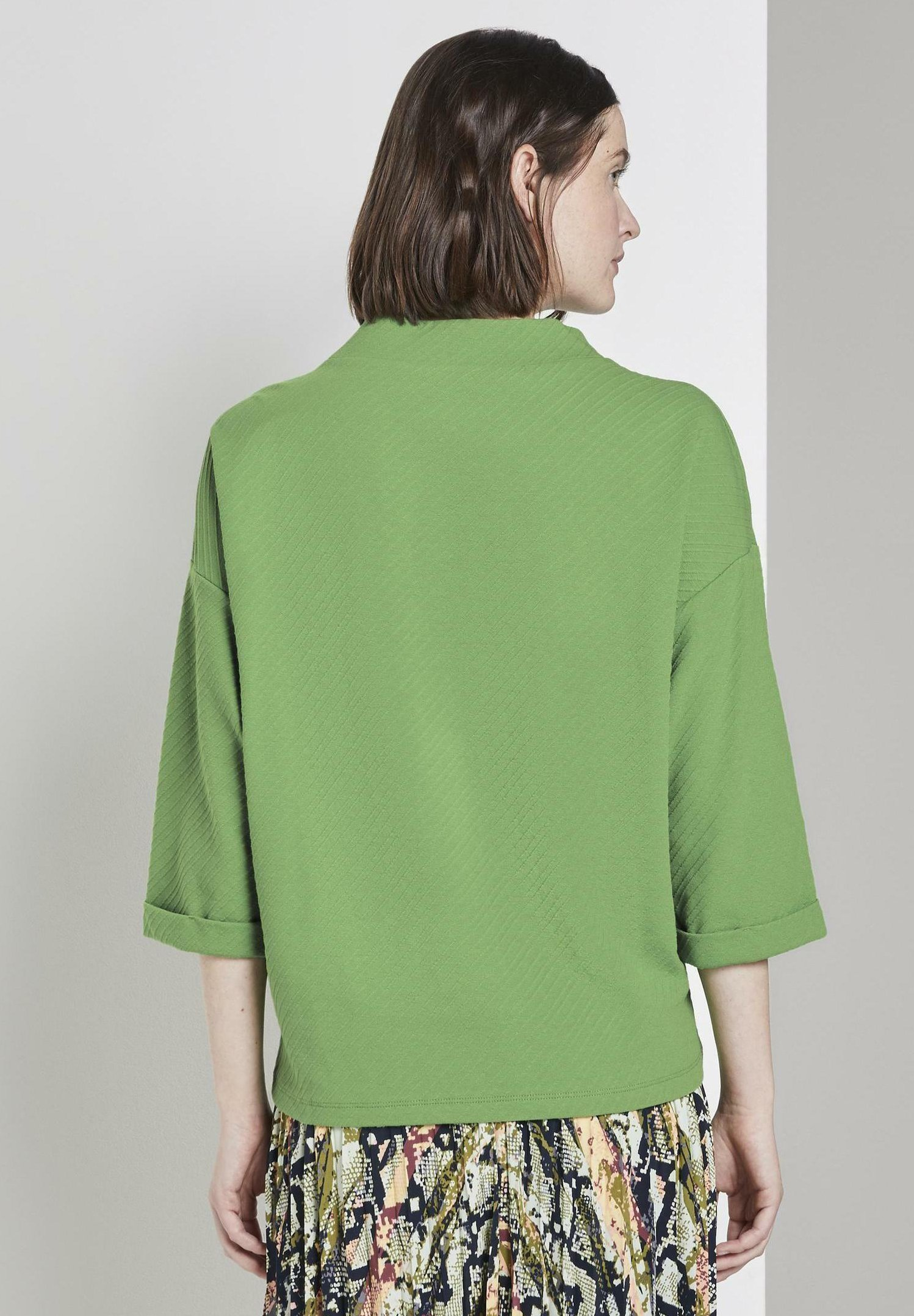 Tom Tailor Boxy Stand Up Collar - T-shirt À Manches Longues Sundried Turf Green