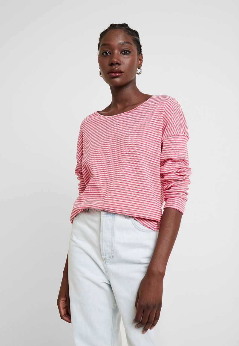 TOM TAILOR - Long sleeved top - pink stripe structure