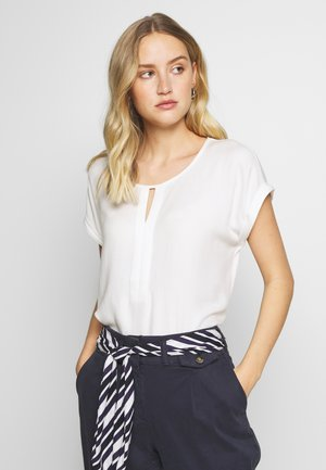 T-SHIRT FABRIC MIX PLACKET - Blusa - whisper white