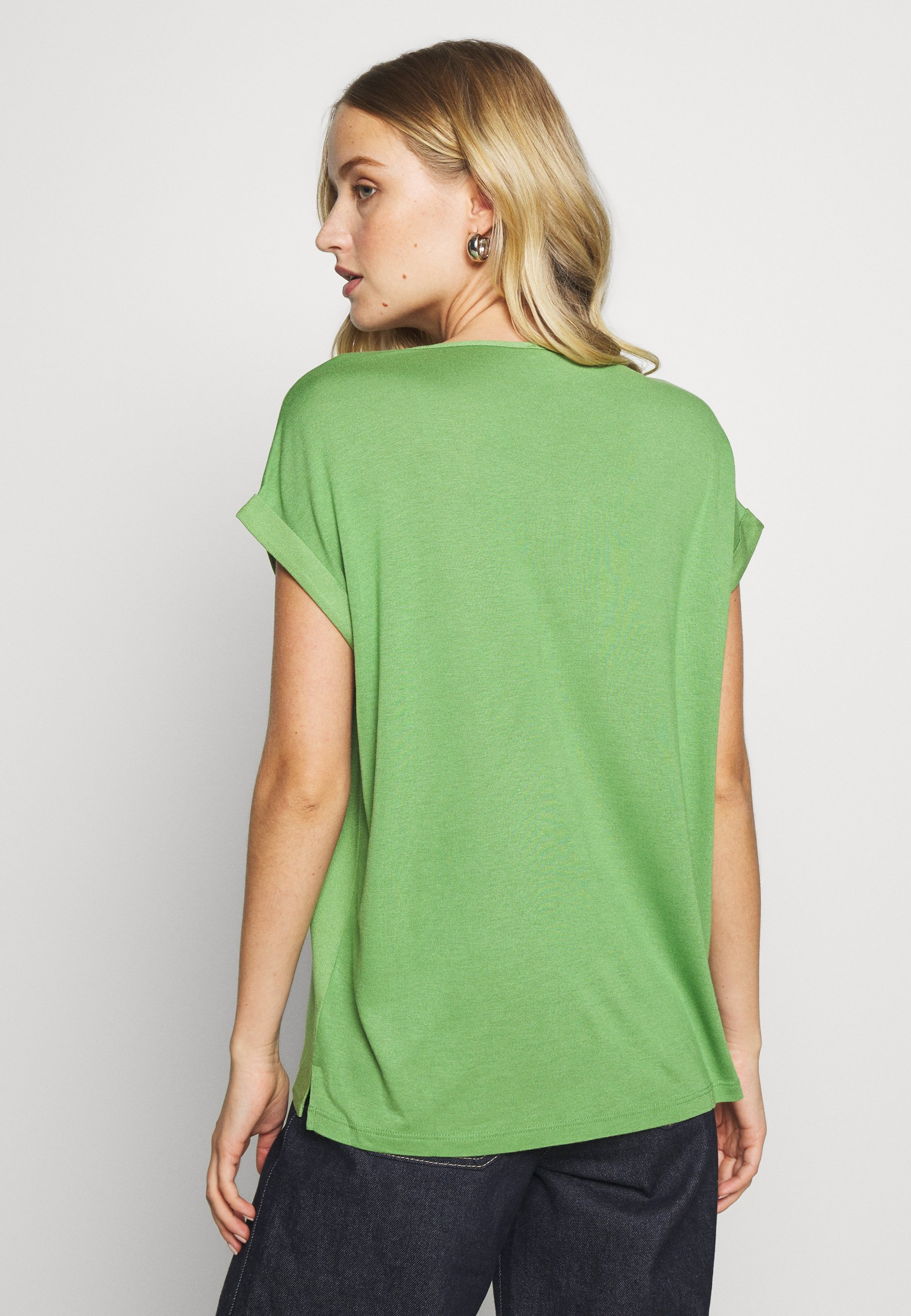 TOM TAILOR T-SHIRT FABRIC MIX PLACKET - Bluser - sundried turf green
