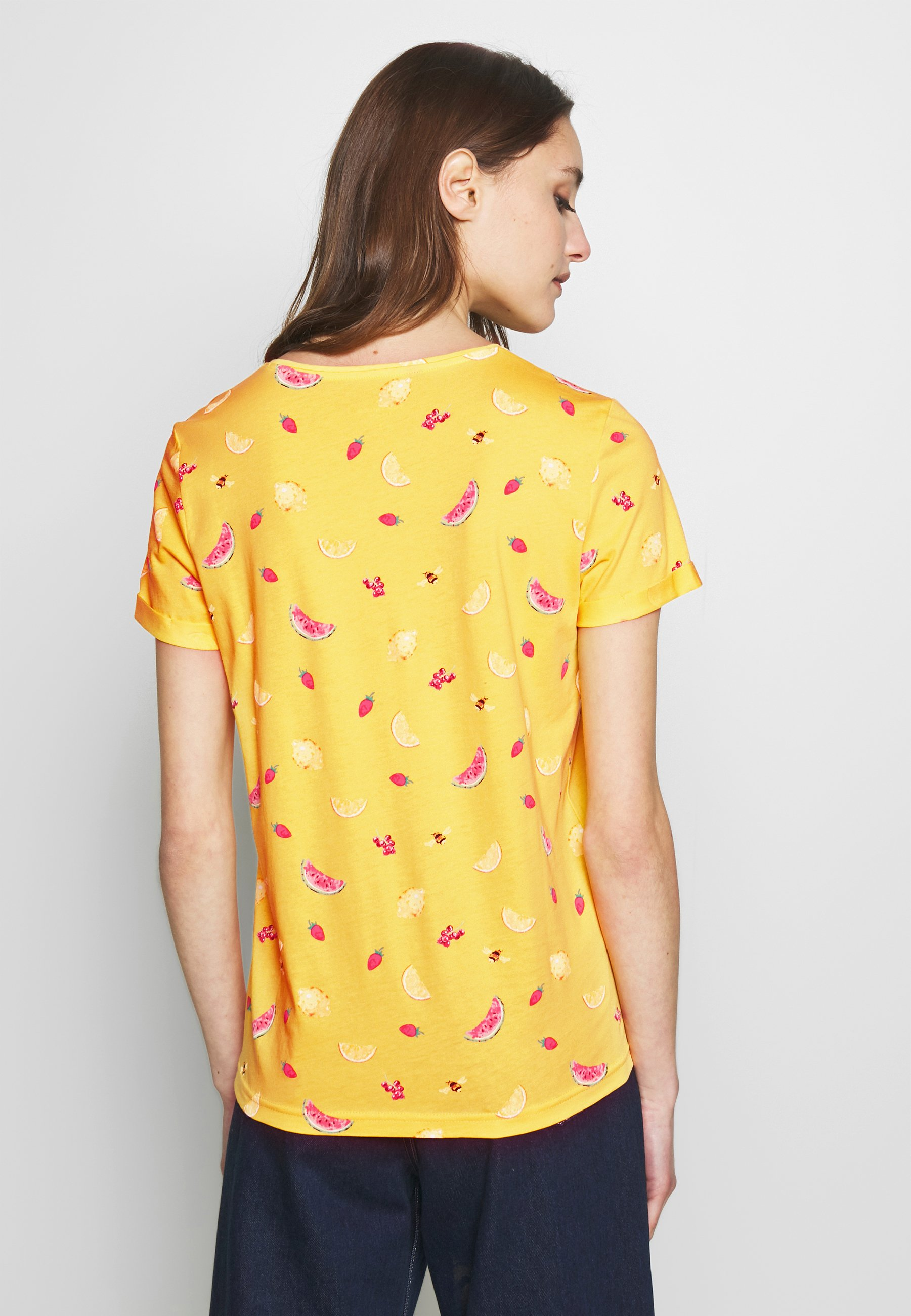 TOM TAILOR CREW NECK - T-shirts med print - yellow