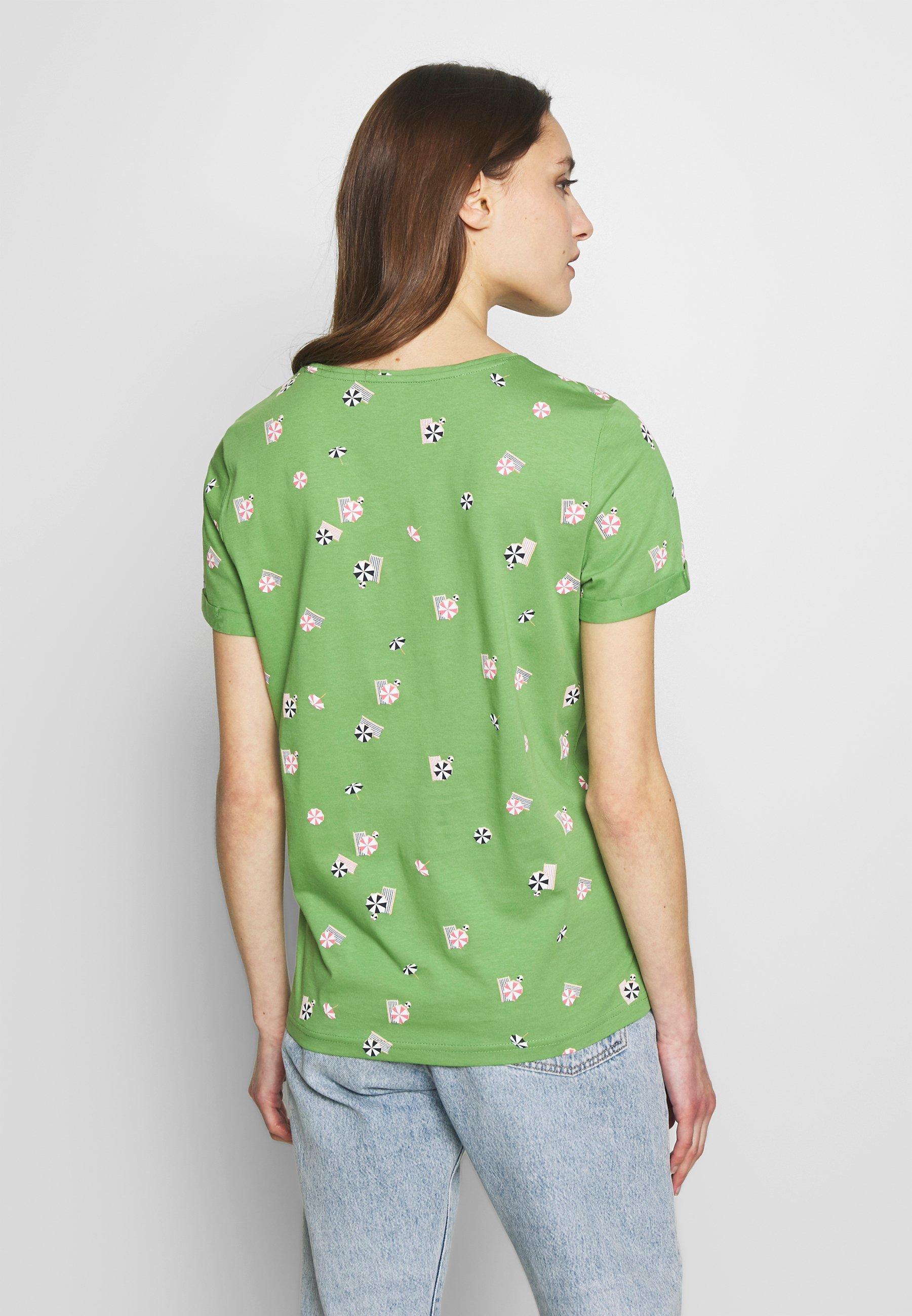 TOM TAILOR CREW NECK - T-shirts med print - green parasol design green