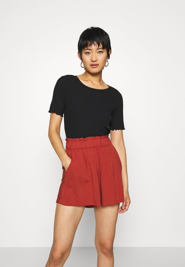 WIDE CREW NECK - Basic T-shirt - deep black
