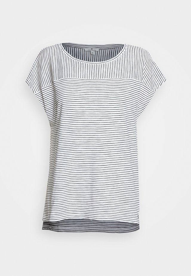 STRIPED - T-shirt imprimé - offwhite