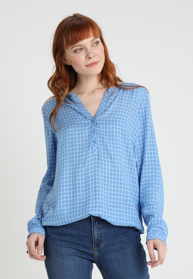 TOM TAILOR - CHECK BLOUSE WITH TURN-UP - Bluse - blue