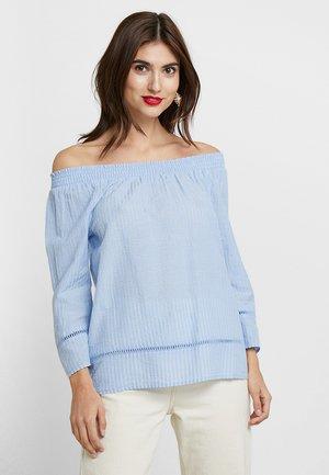 STRIPE CARMEN BLOUSE - Bluzka - lightblue blue stripe verticalblue