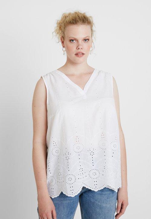 nowy MY TRUE ME TOM TAILOR BLOUSE WITH EMBROIDERY - Bluzka - white Koszulki i Topy MNQW-KJ3