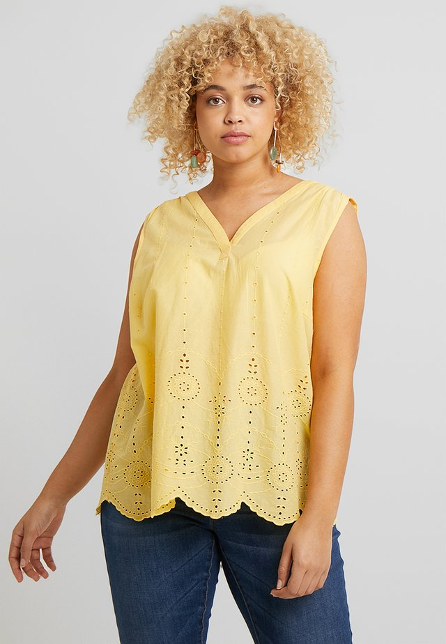 BLOUSE WITH EMBROIDERY - Bluse - daylily yellow