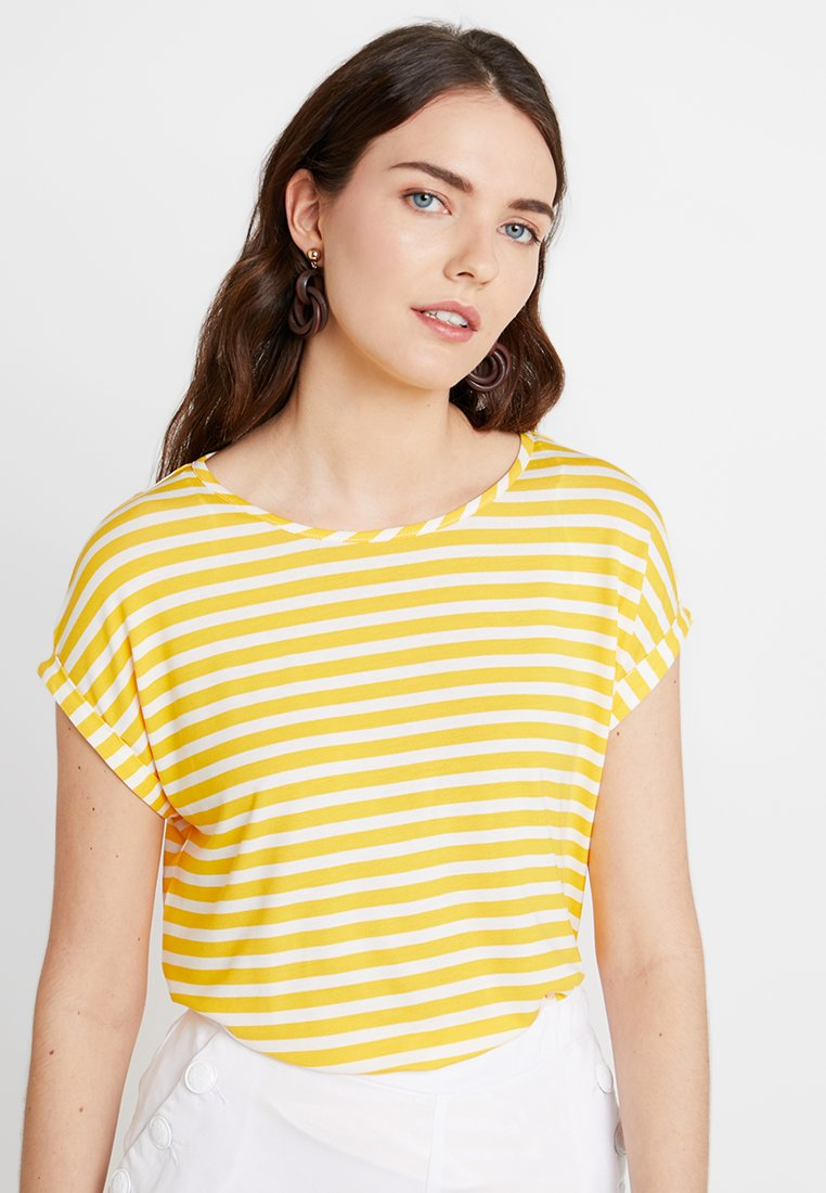 TOM TAILOR - WITH STRIPES - T-shirts med print - yellow