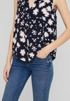 TOM TAILOR - BLOUSE SLEEVELESS WITH PRINT - Bluse - navy/blue