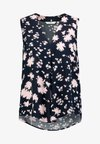 BLOUSE SLEEVELESS WITH PRINT - Blouse - navy/blue