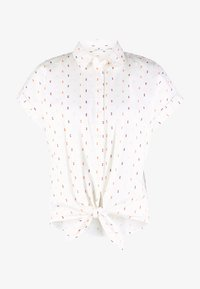 TOM TAILOR - BLOUSE WITH COLOURFUL DOBBY - Button-down blouse - white - 4