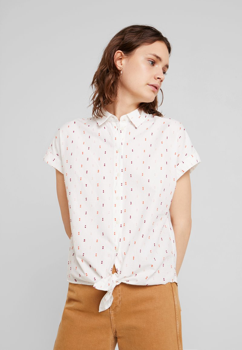 TOM TAILOR - BLOUSE WITH COLOURFUL DOBBY - Button-down blouse - white