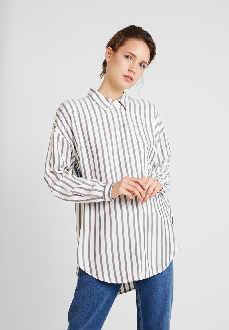 TOM TAILOR - BLOUSE WITH TAPES - Chemisier - offwhite/grey