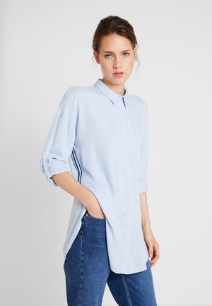 BLOUSE WITH TAPES - Button-down blouse - kentucky blue
