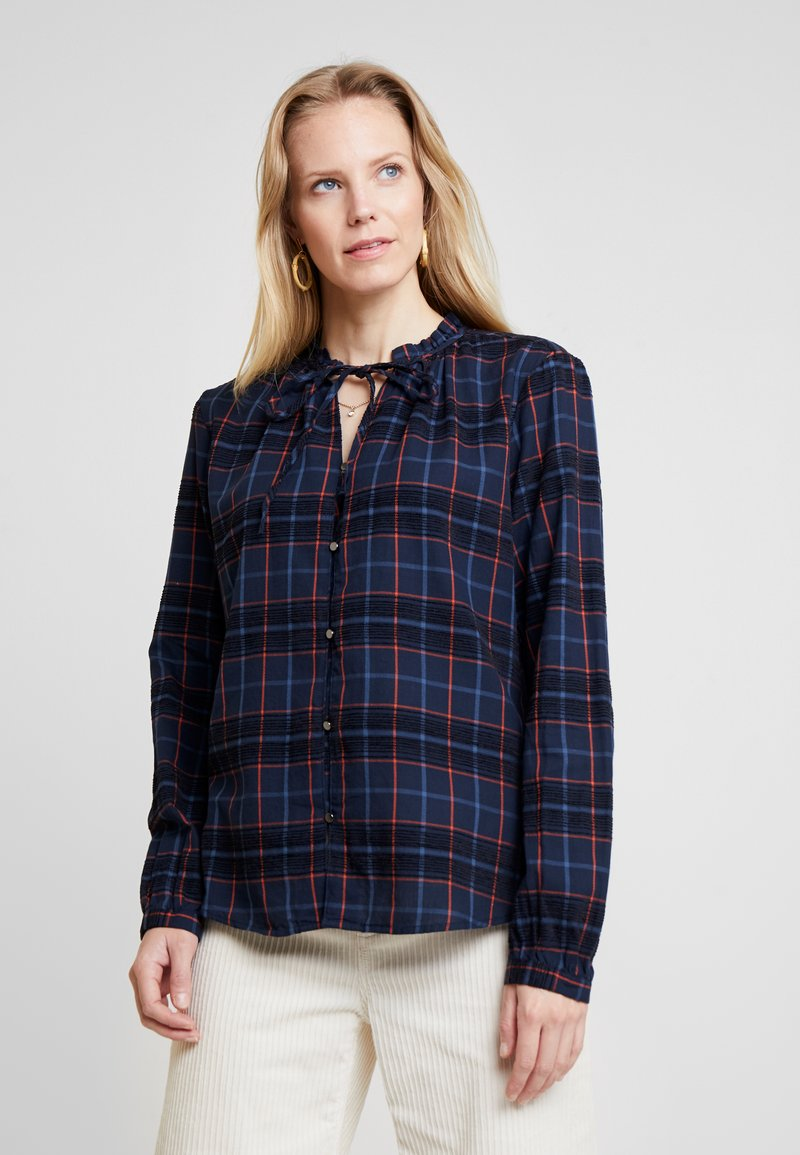 TOM TAILOR - BLOUSE WITH TIED NECK - Hemdbluse - navy