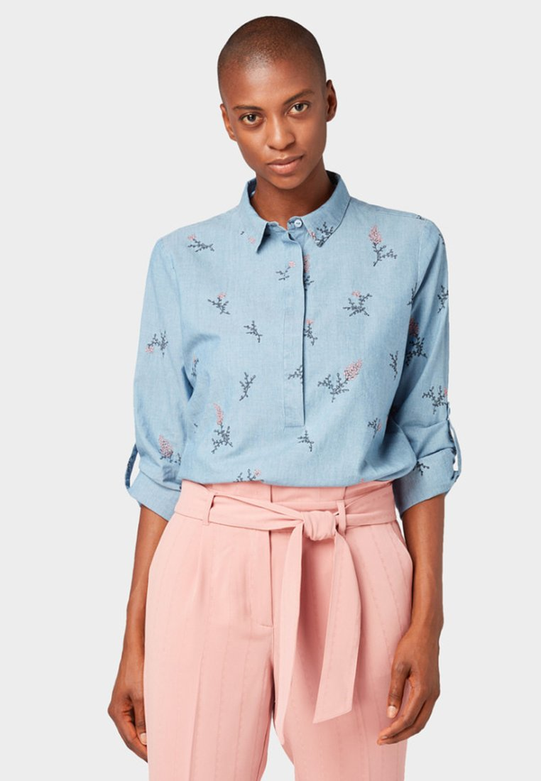 TOM TAILOR - MIT FLORALER STICKEREI - Button-down blouse - blue