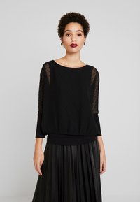 TOM TAILOR - BLOUSE WITH DOUBLE LAYER - Blůza - deep black - 0