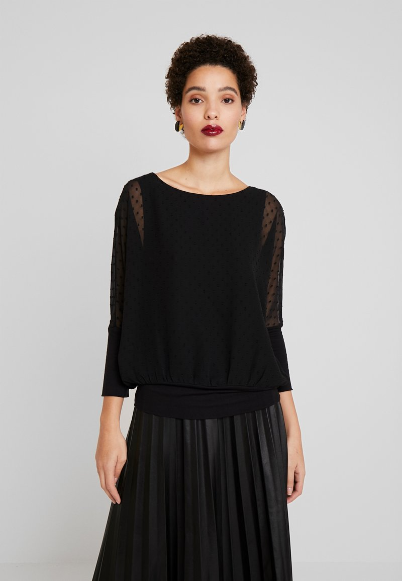 TOM TAILOR - BLOUSE WITH DOUBLE LAYER - Blůza - deep black