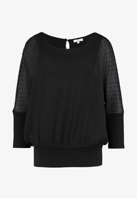 TOM TAILOR - BLOUSE WITH DOUBLE LAYER - Blůza - deep black - 4