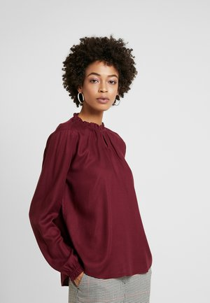 BLOUSE WITH TIED NECK - Blouse - deep burgundy red