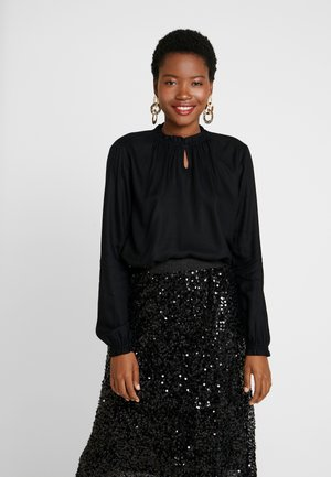 BLOUSE WITH TIED NECK - Blouse - deep black