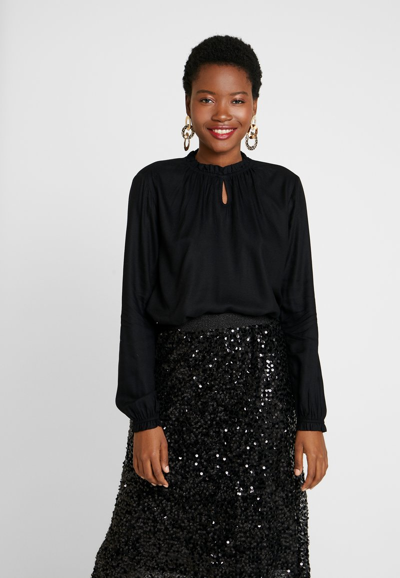 TOM TAILOR - BLOUSE WITH TIED NECK - Bluser - deep black