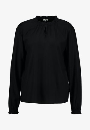 BLOUSE WITH TIED NECK - Blus - deep black