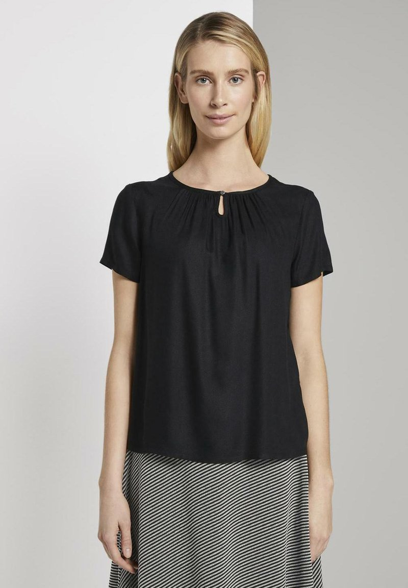 TOM TAILOR - BLOUSE WITH NECK - Blusa - black