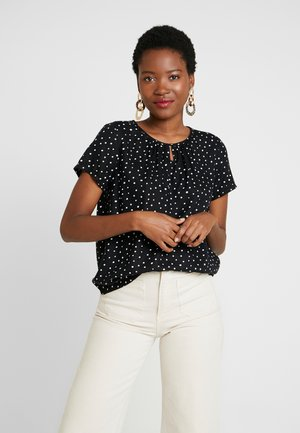 BLOUSE WITH NECK - Blouse - black/white