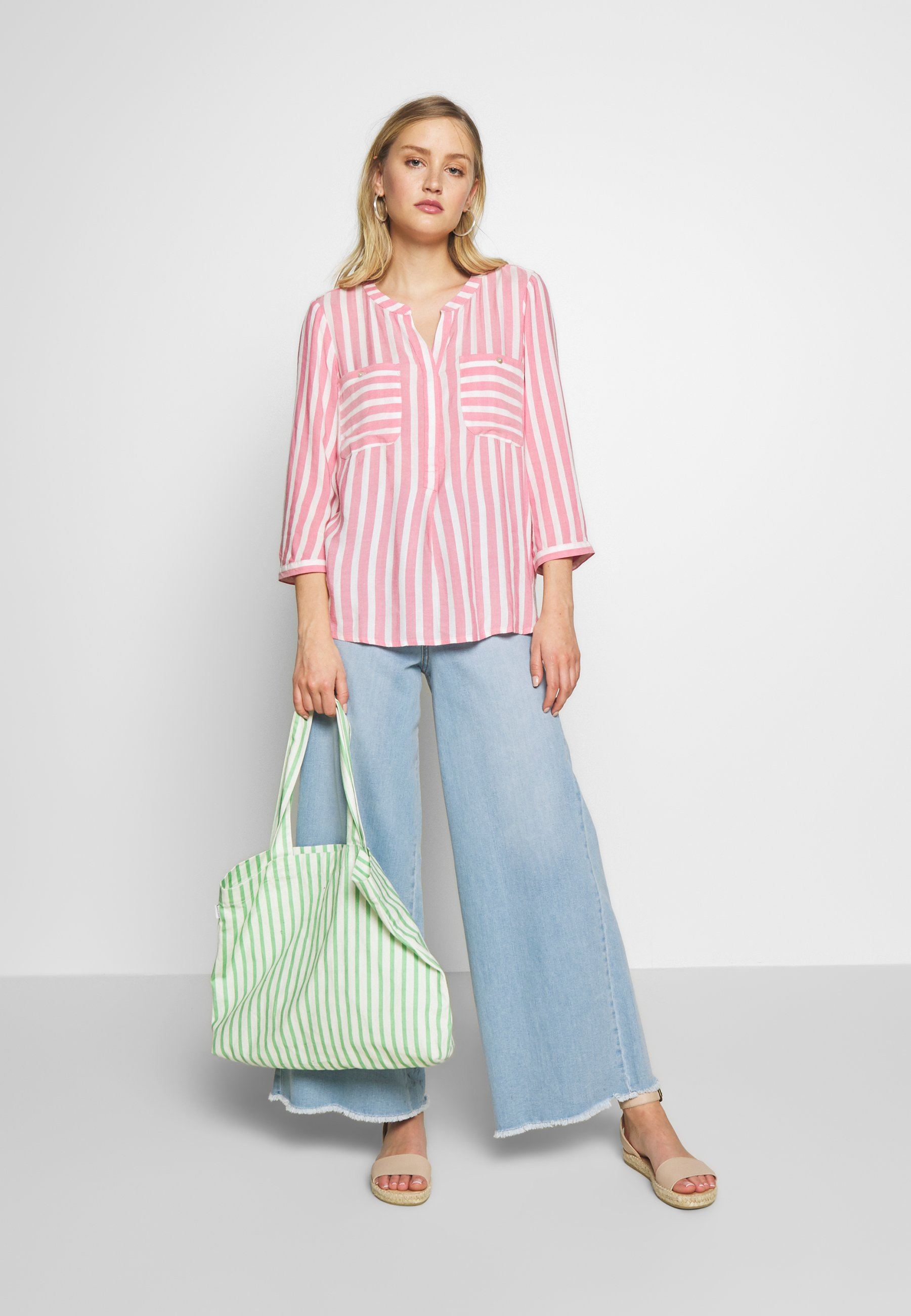 TOM TAILOR BLOUSE STRIPED - Camicetta - pink/white xKLAb7Z1