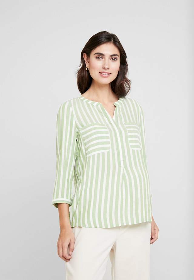 BLOUSE STRIPED - Blouse - green/white