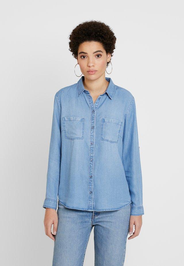 BLOUSE - Button-down blouse - blue denim