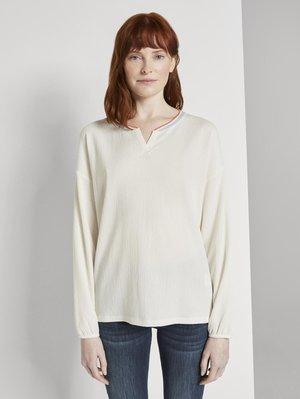 T-SHIRT FABRIC MIX - Blouse - whisper white