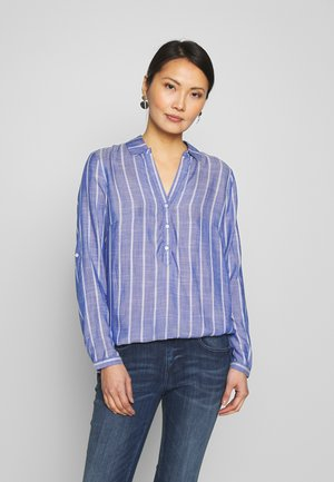 WITH COLLARSTRIPED - Blouse - dark blue