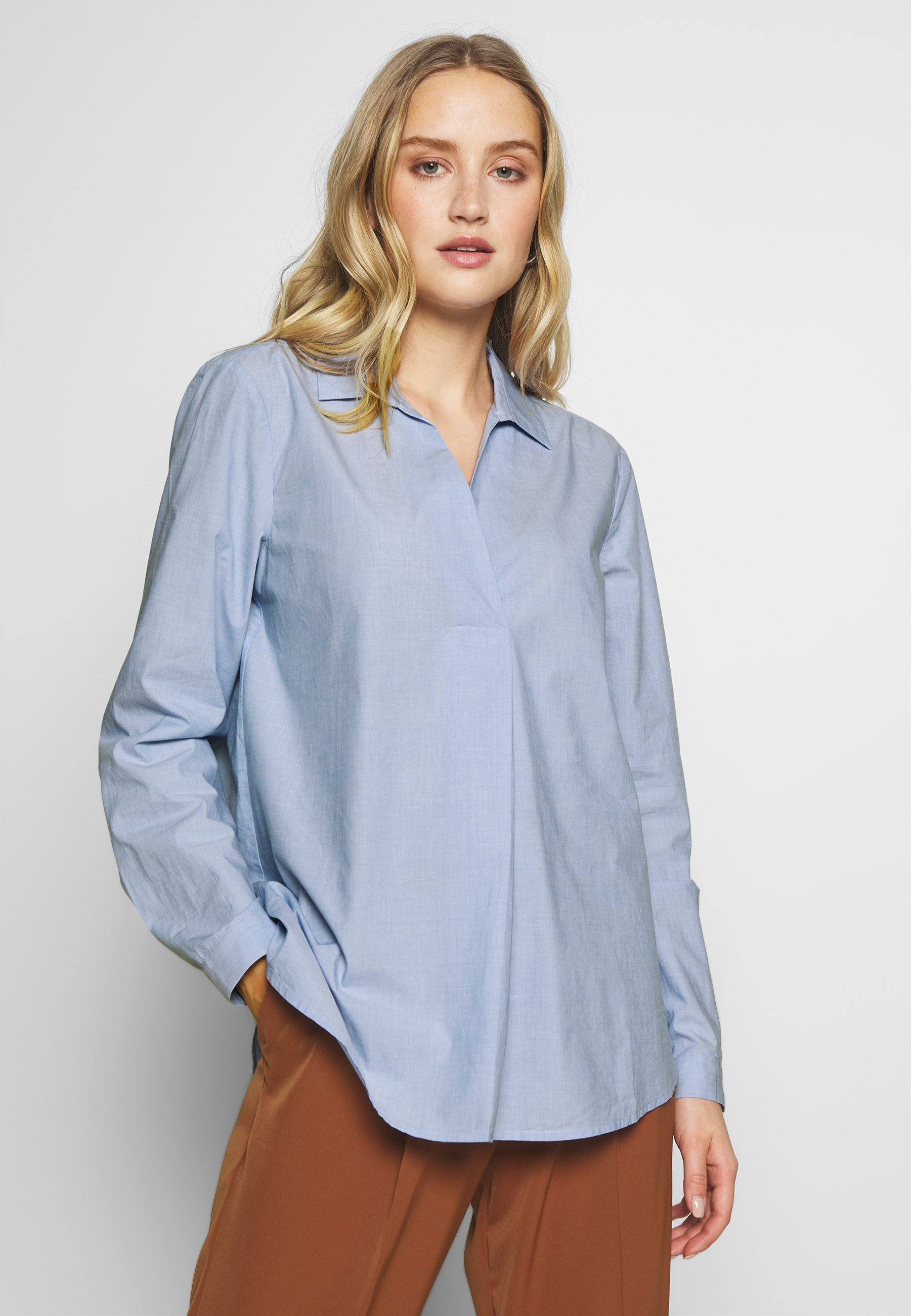 mine to five TOM TAILOR OFFICE TUNIC BLOUSE - Bluzka - light blue chambray
