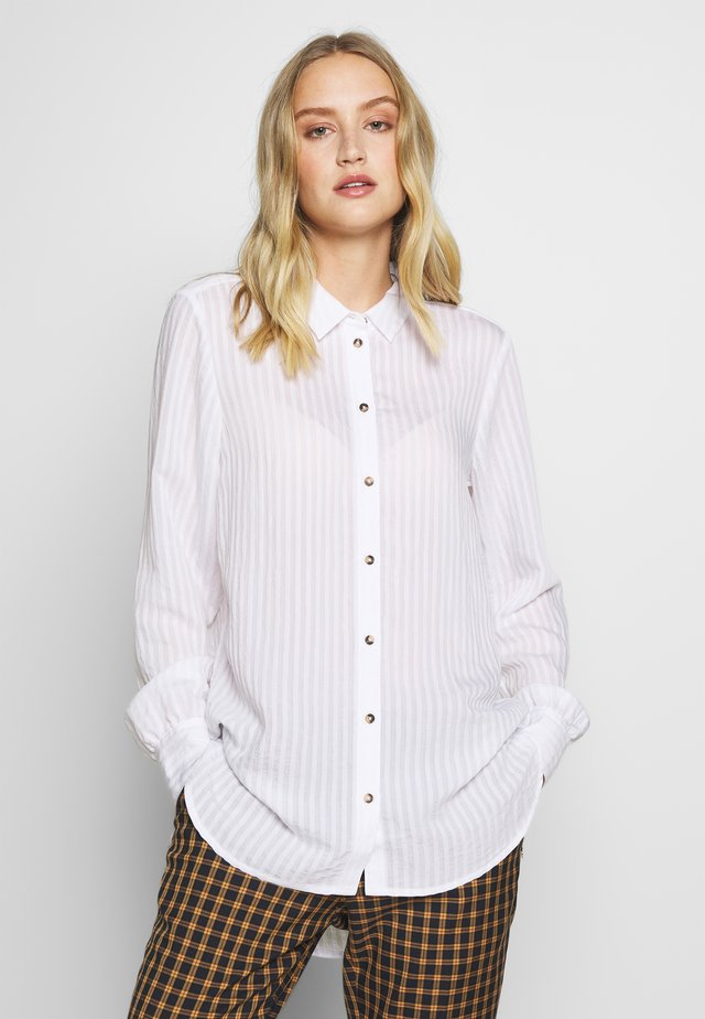 SHEER STRUCTURE BLOUSE - Button-down blouse - white