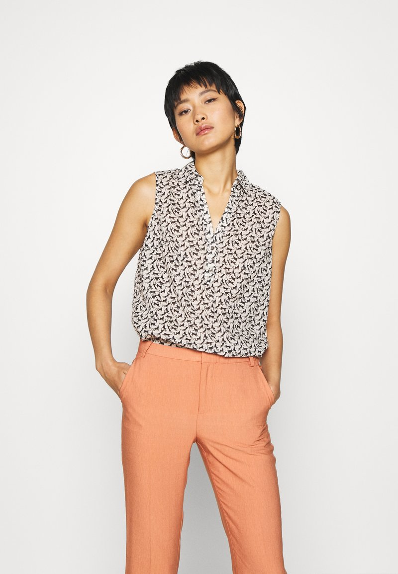 TOM TAILOR - BLOUSE PRINT AND SOLID - Camicetta - vanilla