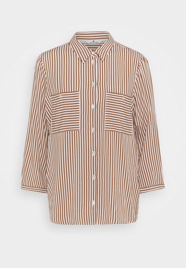 BLOUSE PRINTED STRIPE - Skjorte - camel/white