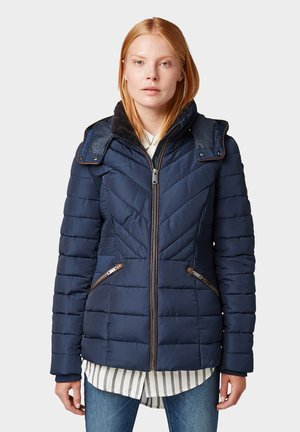 MIT LEDERIMITAT - Winterjas - real navy blue
