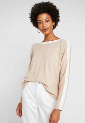 FULL NEEDLE BATWING - Jumper - light camel melange/brown