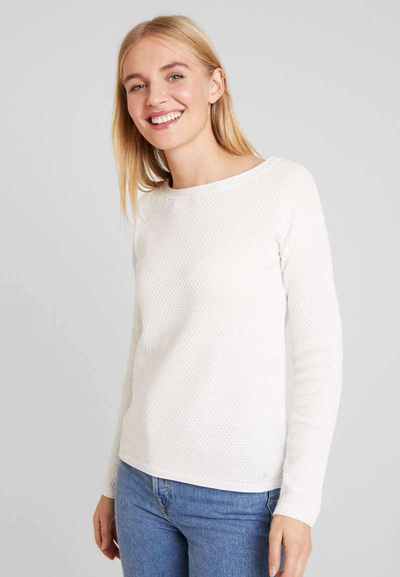 TOM TAILOR - STRUCTURED - Sweter - whisper white