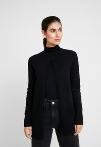 TOM TAILOR - CARDIGAN STRUCTURED - Cardigan - deep black - 0