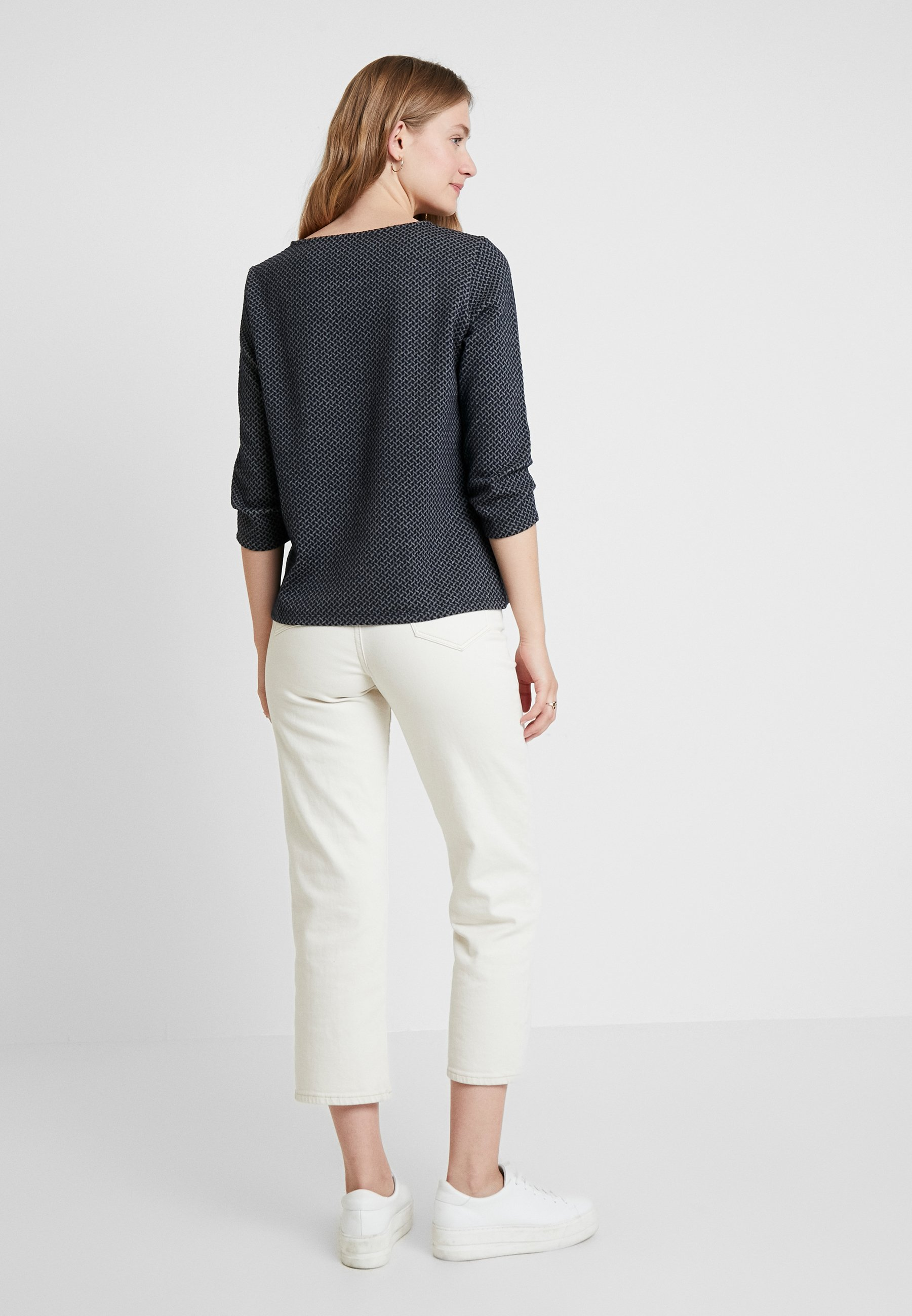 TOM TAILOR WITH ZIP DETAILS - T-shirt à manches longues navy/grey