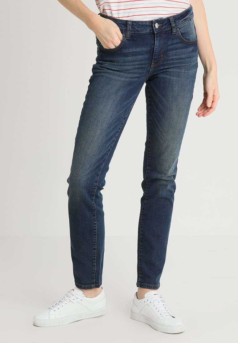 TOM TAILOR - ALEXA - Jeans Slim Fit - dark stone wash denim blue
