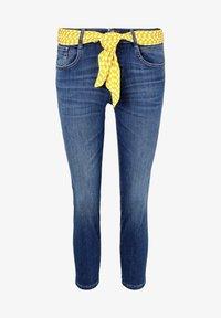 TOM TAILOR - MIT BINDEGÜRTEL - Jeans slim fit - used mid stone blue denim - 6